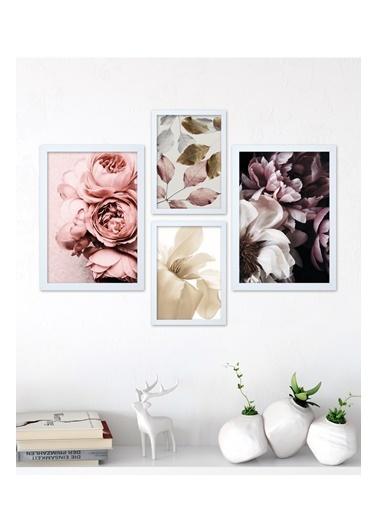 Lyn Home & Decor Çiçek Desen Çerçeveli Poster 4 Lü Tablo 17,5X23,5 2 Adet 23,5X33,5 Beyaz